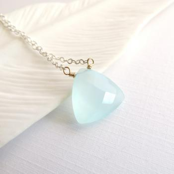 Chalcedony solitaire necklace